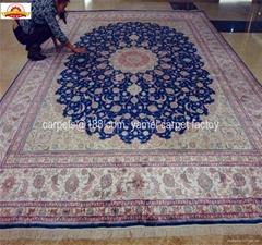 高密度600L紅色6'x9'伊斯法罕著名設計紅色仿古的手工絲綢地毯
