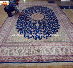 High density 600L 6'x9' Isfahan Famous Design Blue color Antique Silk carpet