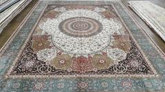 供应红色系列客厅挂毯 500L 波斯图案 手工打结真丝地毯