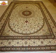 Handmade silk carpets in YAMEI production