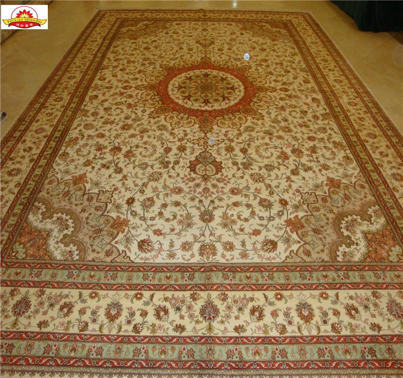 沙特阿拉伯地毯10x14ft 工厂直供手工打结真丝波斯地毯 2