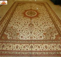沙特阿拉伯地毯10x14ft 工厂直供波斯地毯 手工打结真丝地毯