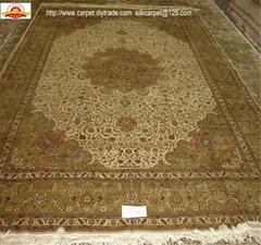 供应600L手工打结波斯外贸地毯,高级真丝地毯