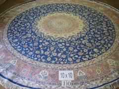 生產手工園形美國 比利時 加拿大 真絲地毯 手工地毯12x12ft