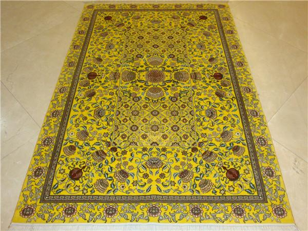 natural plant dyeing silk carpet 4x6 ft handmade silk carpet 2