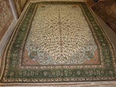 手工编织波斯图案 广州批发 600L高级真丝地毯