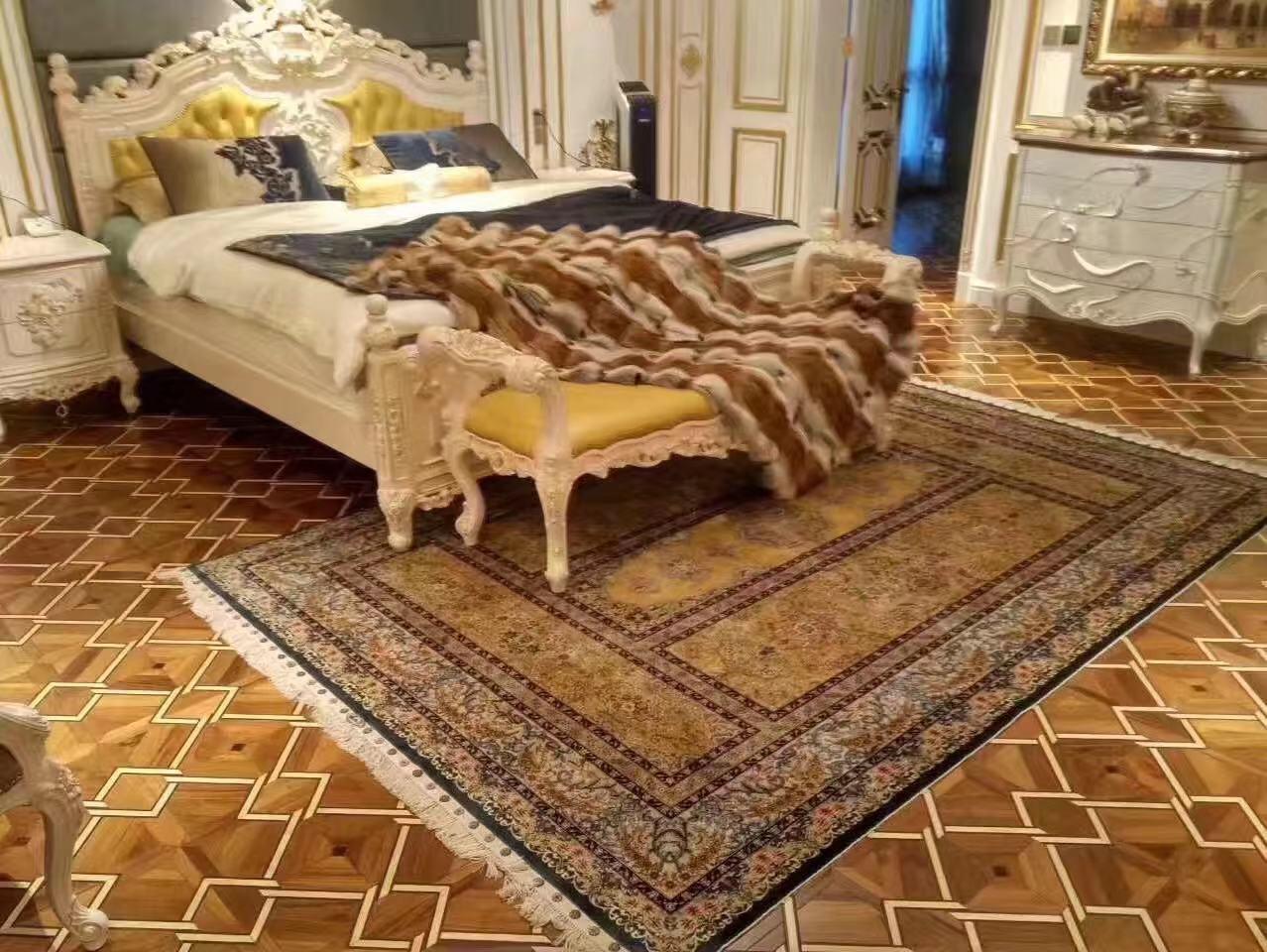 同奔驰一样品质的手工真丝古代地毯 6x9 ft 蚕丝古老波斯地毯 2
