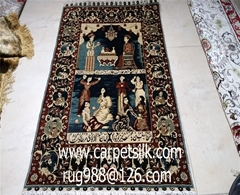 珍贵的手工真丝挂毯,2x3ft艺术挂毯