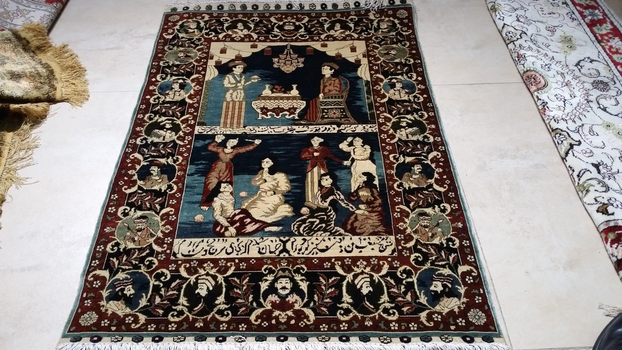 亞美地毯廠一支花-手工波斯真絲藝朮挂毯 1