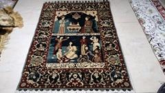 亚美地毯厂一支花-手工波斯真丝艺术挂毯