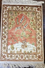 创新设计红色地毯,真丝材料