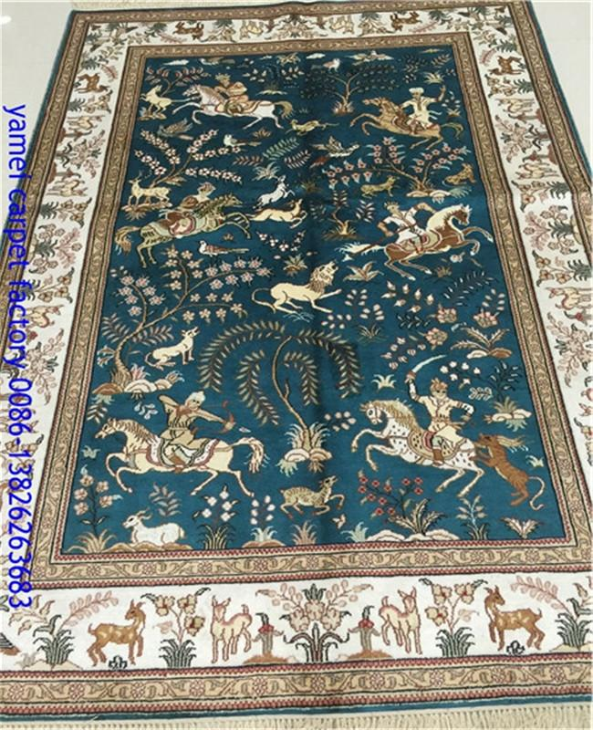 波斯富贵工厂批发4'x6'经典波斯设计手工丝绸挂毯 1