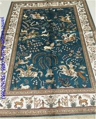 波斯富贵工厂批发4'x6'经典波斯设计手工丝绸挂毯