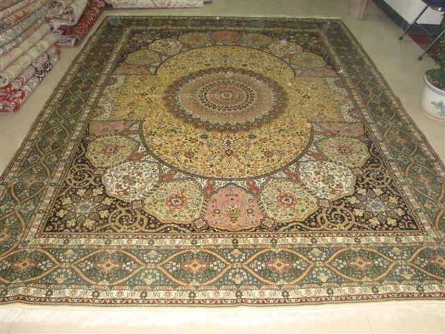 供应8X10 ft 祈祷挂毯 手工天然蚕丝地毯 1