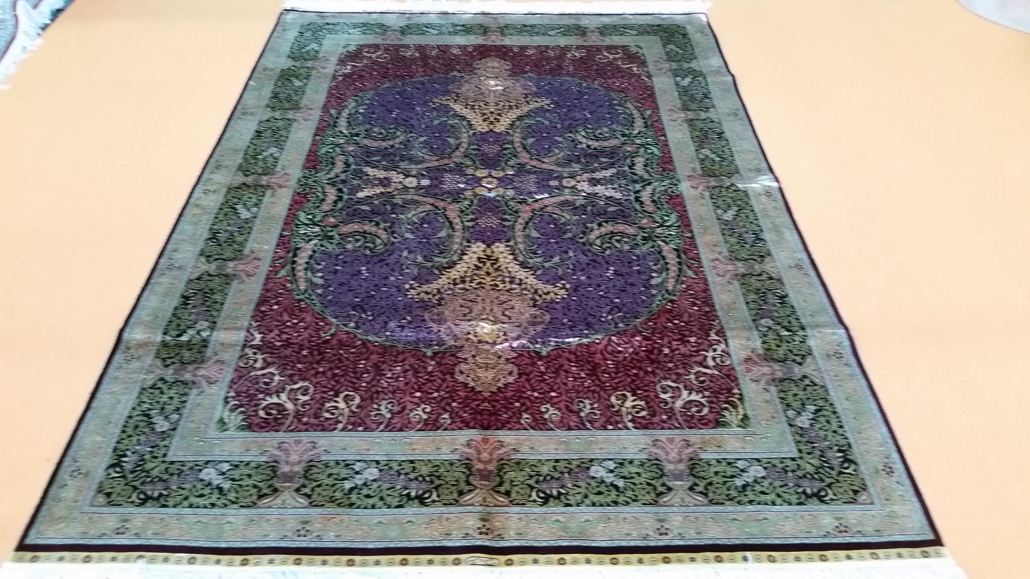 經典波斯設計工廠批發手工絲綢5x8 ft 挂毯 2