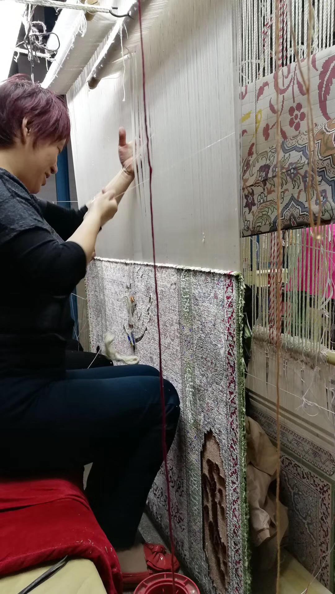 波斯富貴生產大型手工壁毯及挂毯,桑蠶絲材料,東方圖案 4