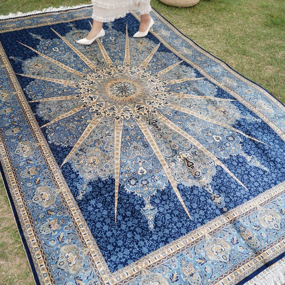 Handmade natural silk Persian pattern carpet of the same quality as Benz 1