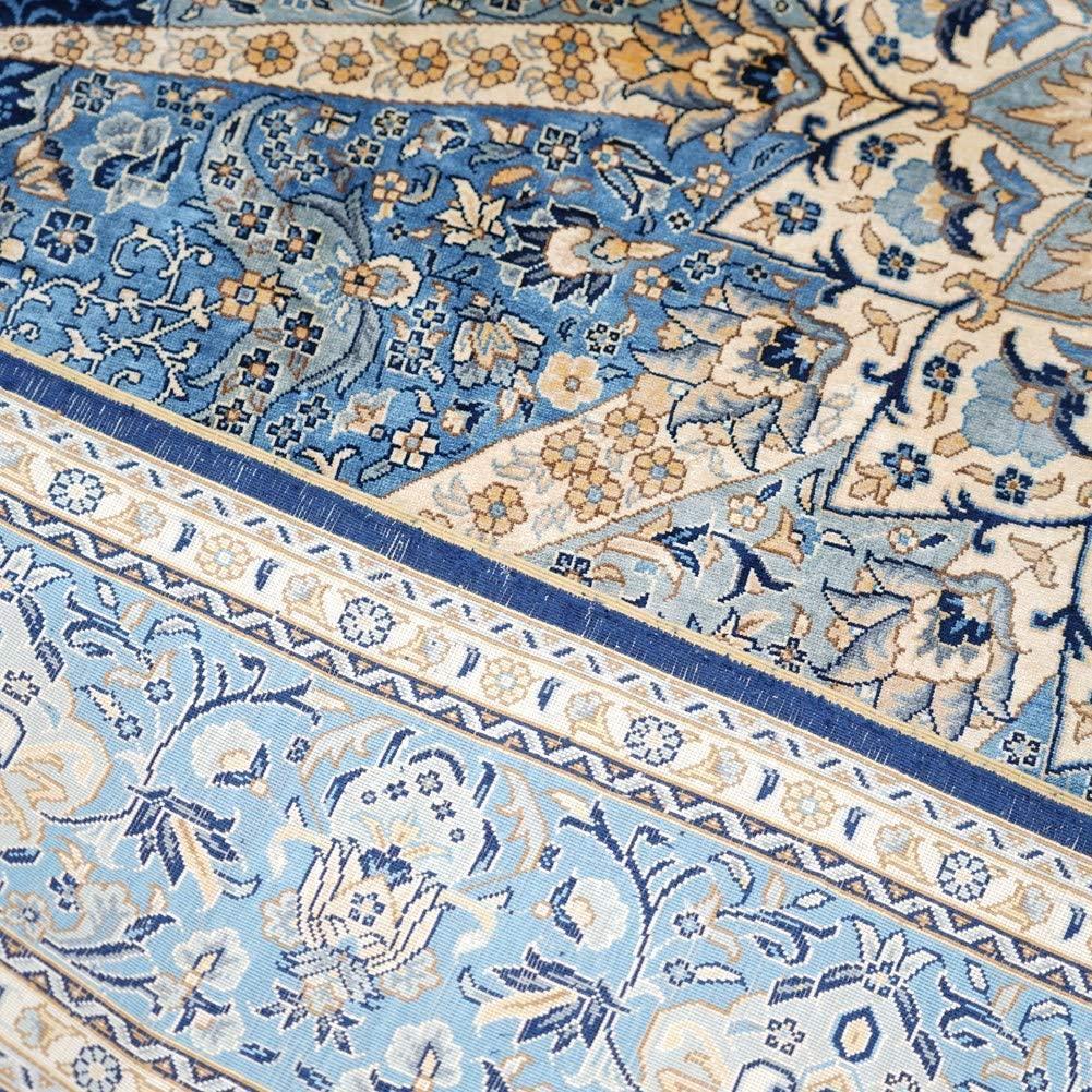 同奔馳一樣品質的手工天然蠶絲波斯圖案地毯 3