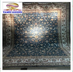 適合美國接待大廳的蘭色手工波斯真絲地毯及挂毯 (熱門產品 - 1*)