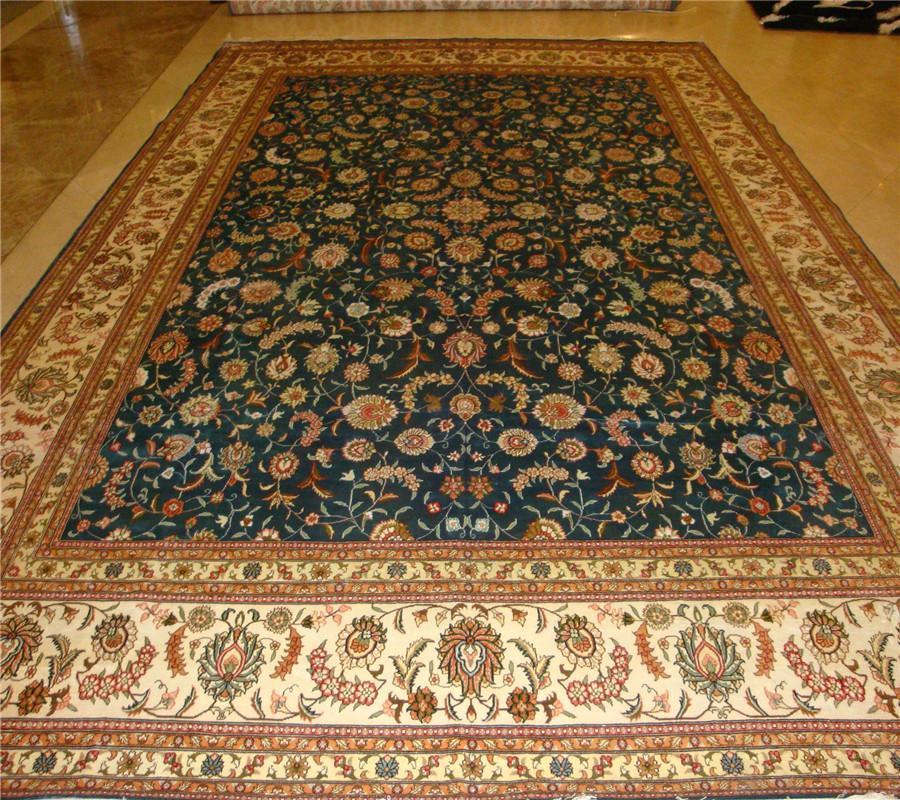 适合美国接待大厅的兰色手工波斯真丝地毯及挂毯 2