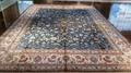 适合美国接待大厅的兰色手工波斯真丝地毯及挂毯 4