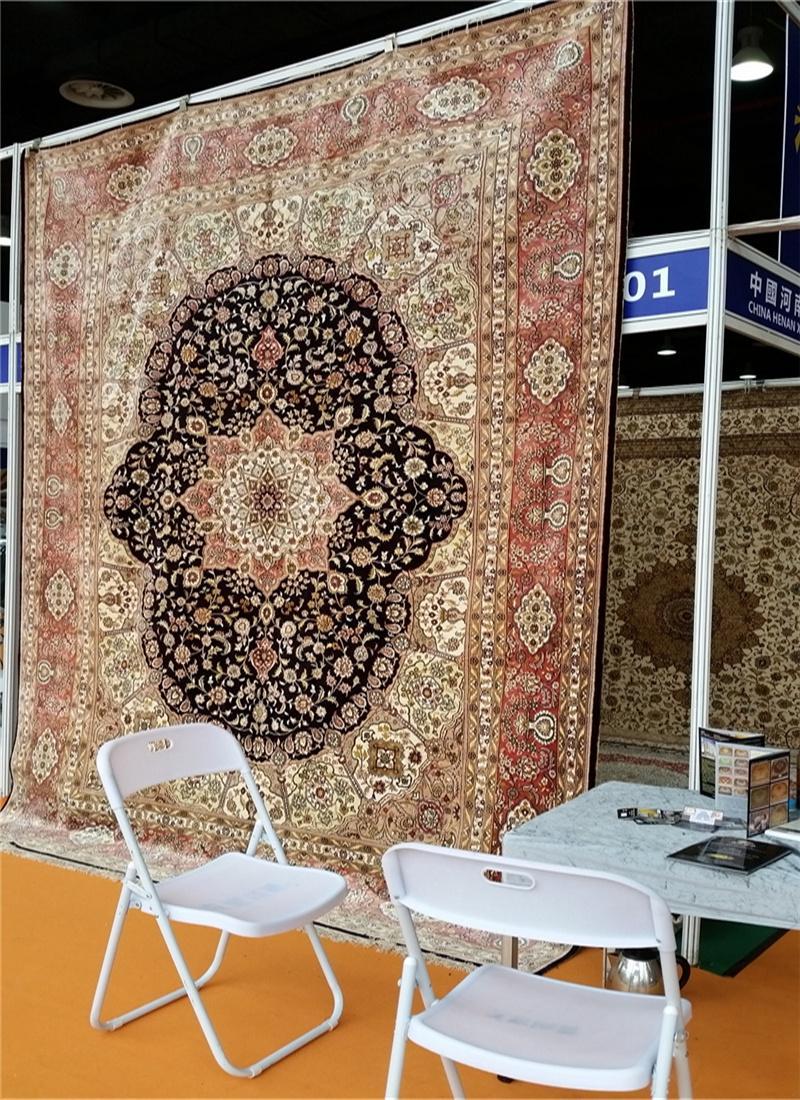 亚美传奇优质手工真丝挂毯 天然蚕丝 古董艺术地毯 4