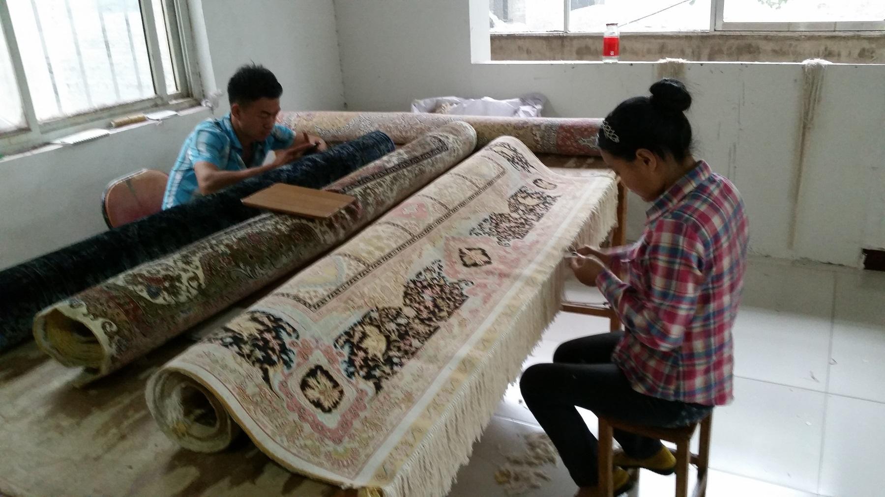 亞美真絲材質,波斯圖案手工打結大客廳地毯 2