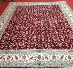真丝材质,亚美波斯图案手工打结大客厅地毯