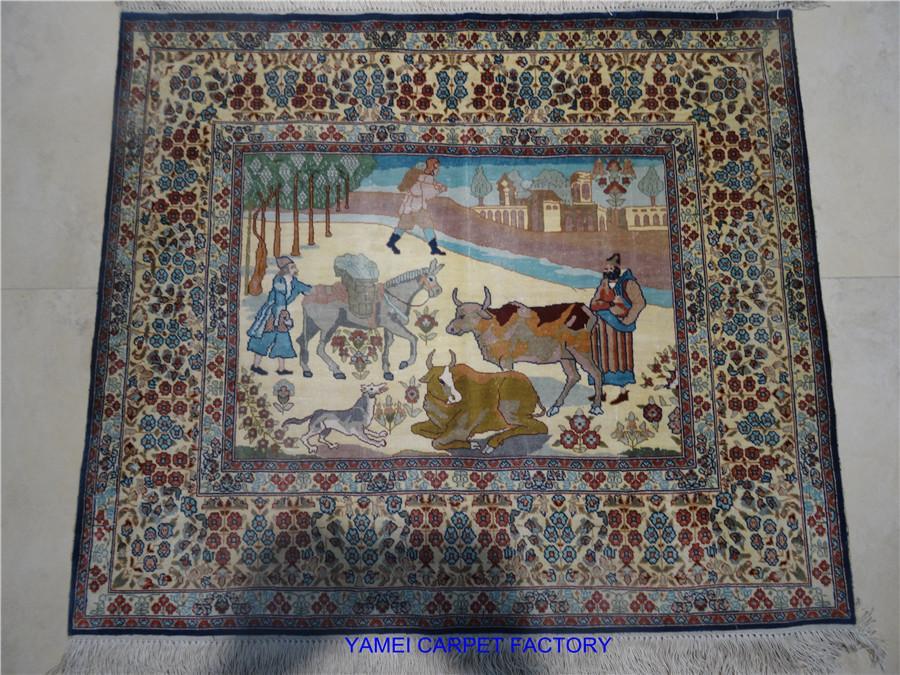 亚美传寄书房亮丽真丝材质手工艺术挂毯2x2ft 1