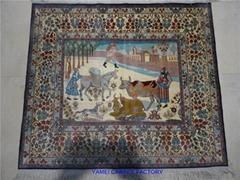 亚美传寄书房亮丽真丝材质手工艺术挂毯