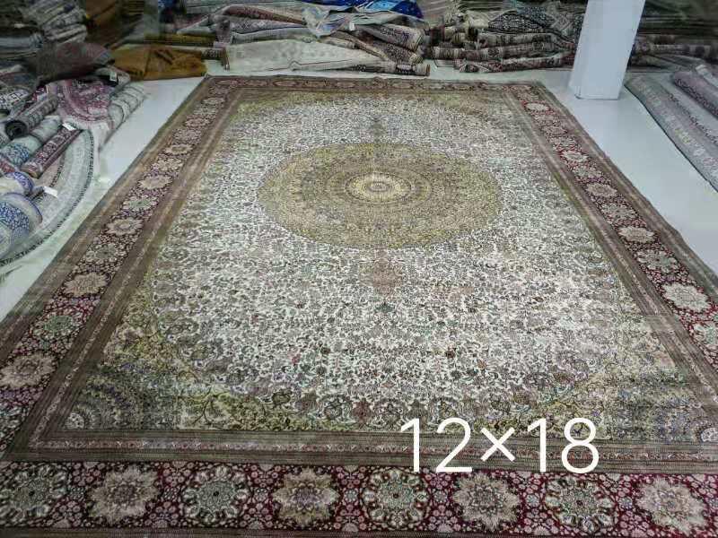 出口手工真絲地毯 12x18ft接待大廳專用毯子 1