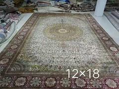 出口手工真丝地毯,12x18ft接待大厅专用毯子