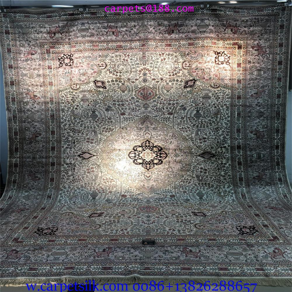 装饰国家会客厅的手工高级波斯真丝地毯10x14ft 1