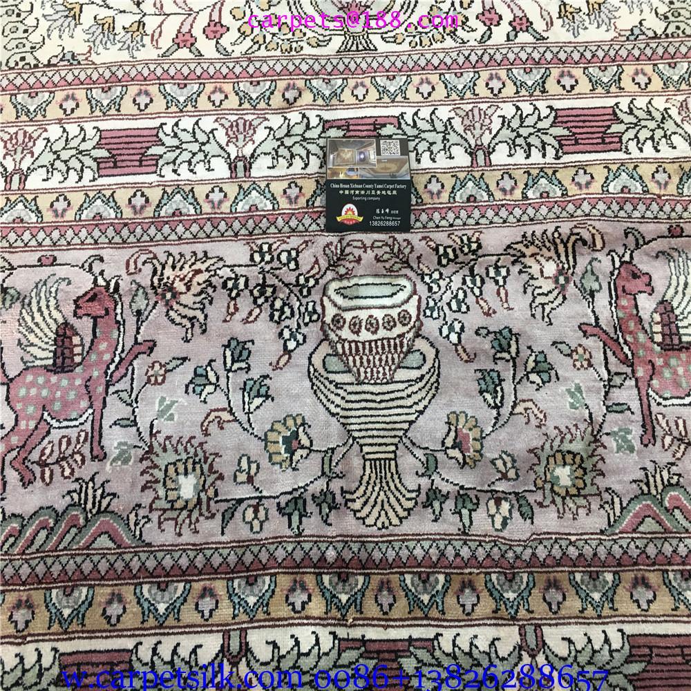 装饰国家会客厅的手工高级波斯真丝地毯10x14ft 2