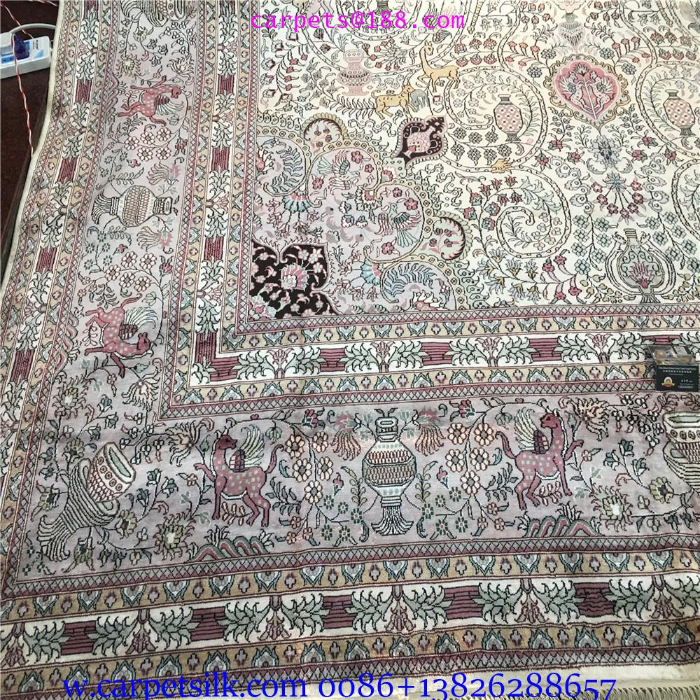 装饰国家会客厅的手工高级波斯真丝地毯10x14ft 3
