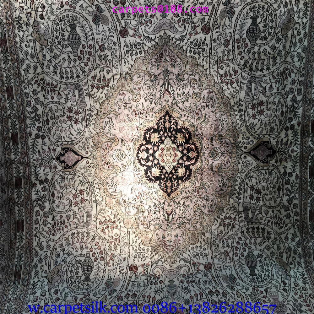 装饰国家会客厅的手工高级波斯真丝地毯10x14ft 4