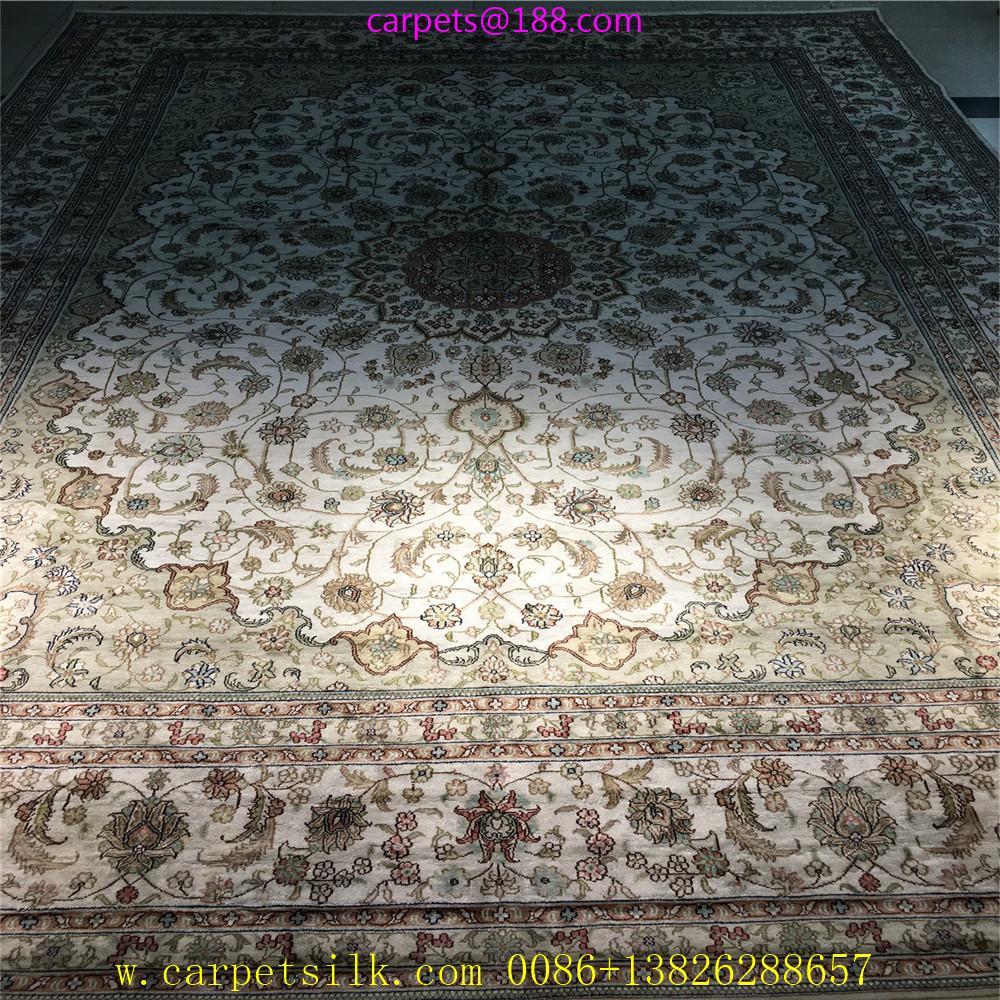 亚美传奇波斯图案,8x11ft 真丝手工织造的书房地毯 1