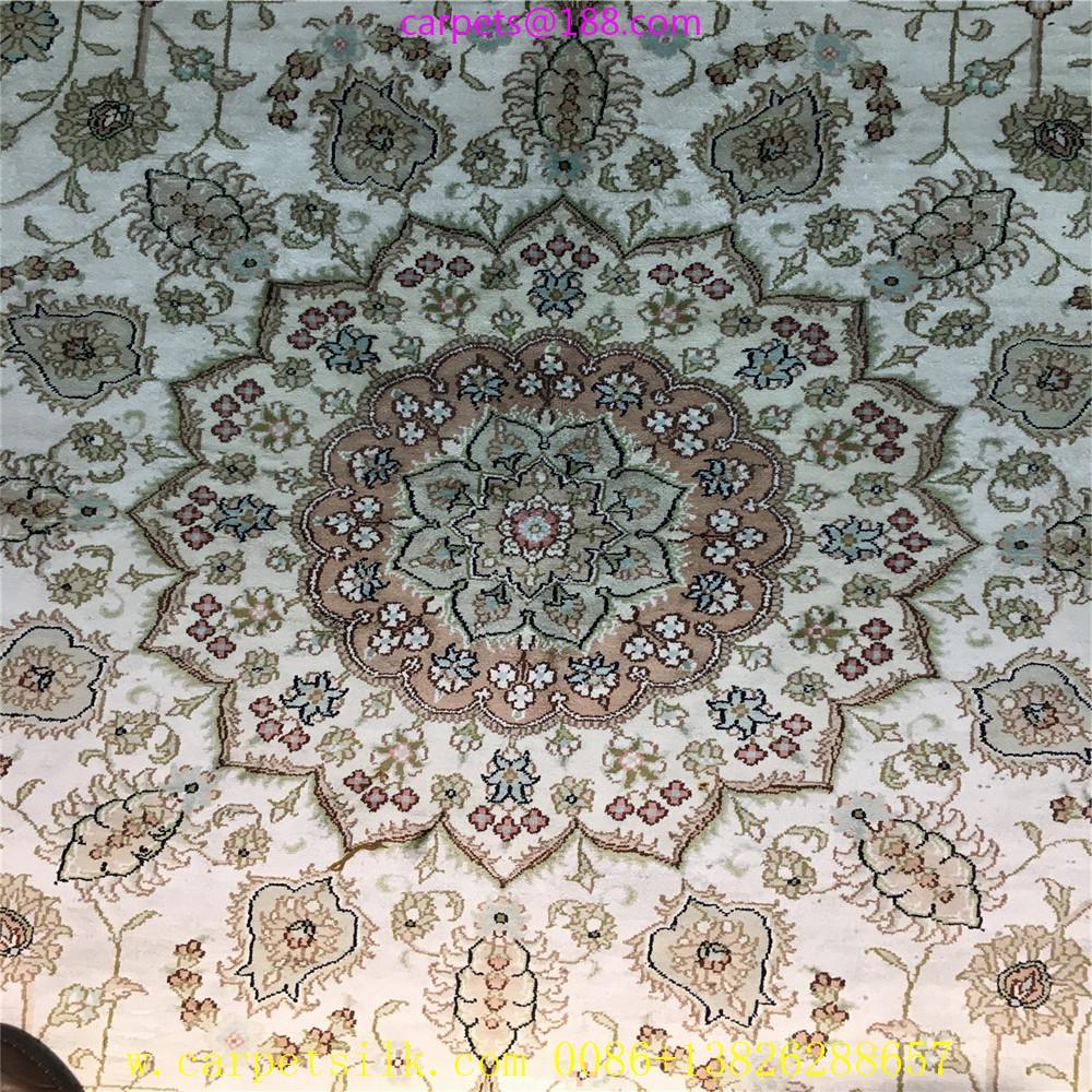 亚美传奇波斯图案,8x11ft 真丝手工织造的书房地毯 2