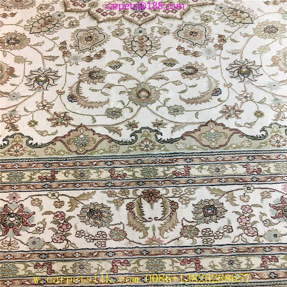 亚美传奇波斯图案,8x11ft 真丝手工织造的书房地毯 4