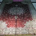 亞美批發紅色6x9ft手工桑蠶絲地毯 1