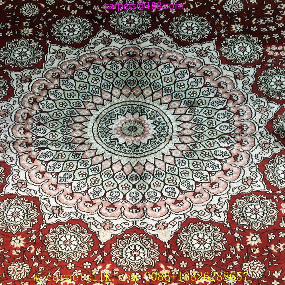 亞美批發紅色6x9ft手工桑蠶絲地毯 2