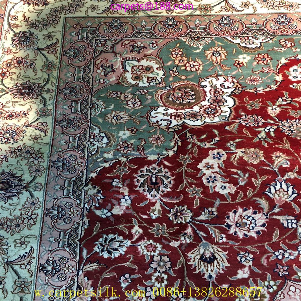 亞美批發紅色6x9ft手工桑蠶絲地毯 3