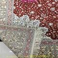 亞美批發紅色6x9ft手工桑蠶絲地毯 4