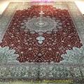 亞美批發紅色6x9ft手工桑蠶絲地毯 5