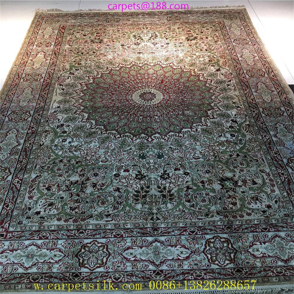 波斯富责浅米色5x8ft手工真丝挂毯 1