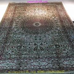 persian splendor light beige 5x8ft handmade silk tapestry