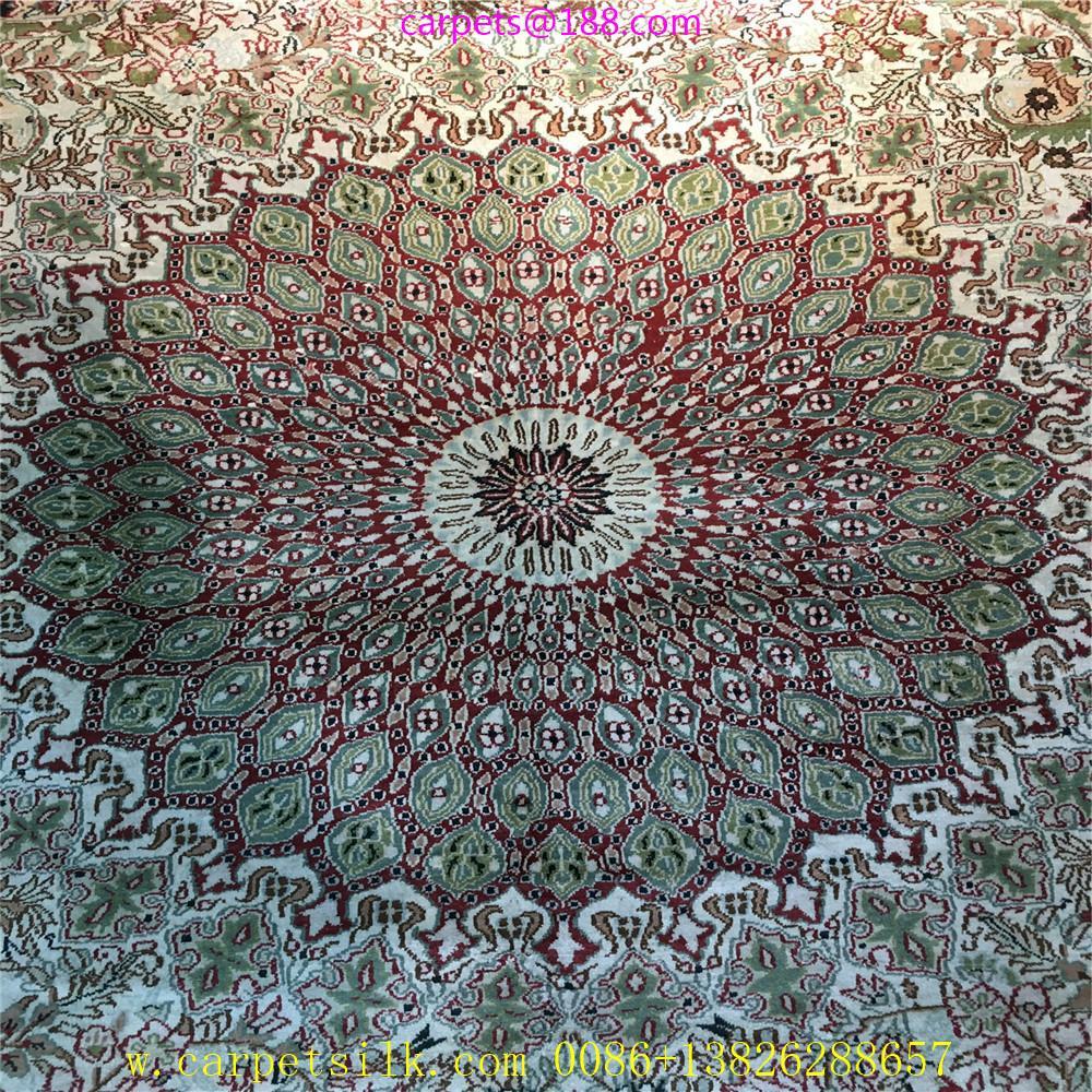 波斯富責淺米色5x8ft手工真絲挂毯 2