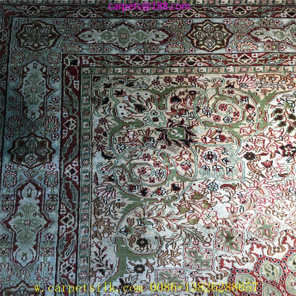波斯富责浅米色5x8ft手工真丝挂毯 3