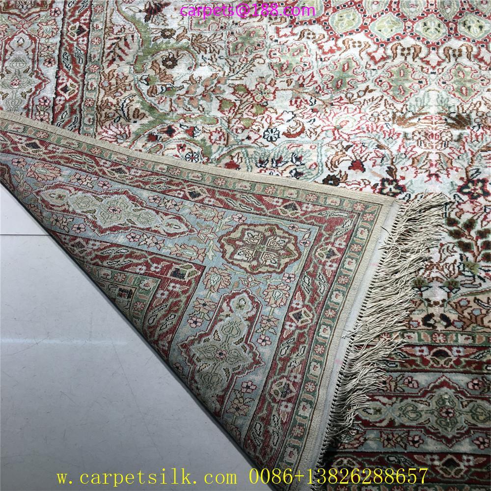 波斯富责浅米色5x8ft手工真丝挂毯 4