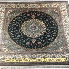 正方形手工真絲東方圖案設計地毯-亞美地毯廠生產